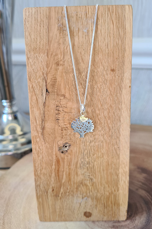 Tree of life with gold bird necklace