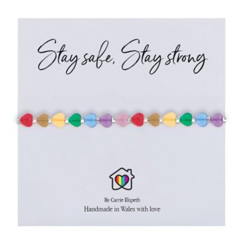 Carrie Elspeth Glass Heart Stay Safe, Stay Strong Bracelet