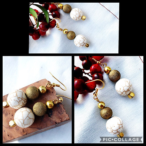 Crackled White Turquoise & Gold Stardust Bead Earrings