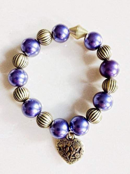 Purple and Gold Ribbed Metal Beaded Bracelet with Antique Brass Heart Feature