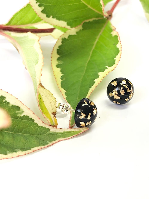 Black & Gold Leaf Resin Studs with Sterling Silver Posts and Backs