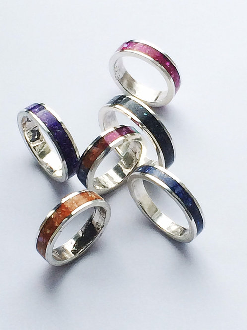 Crushed Shell Inlay Sterling Silver Ring