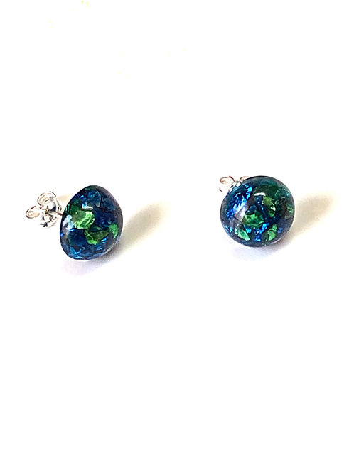 Blue Green Sparkle Earrings (Sterling Silver Posts & Backs)
