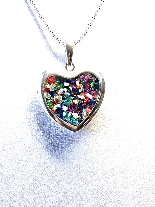 Cremation Ashes Memorial Rainbow Heart Pendant Necklace