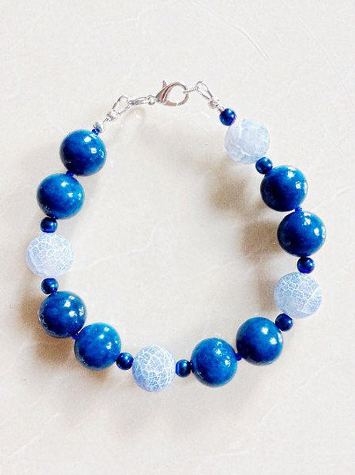 Blue Marble & Fire Agate Bracelet and Matching Earrings