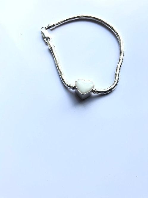 Pandora Style Breast Milk Heart Bead