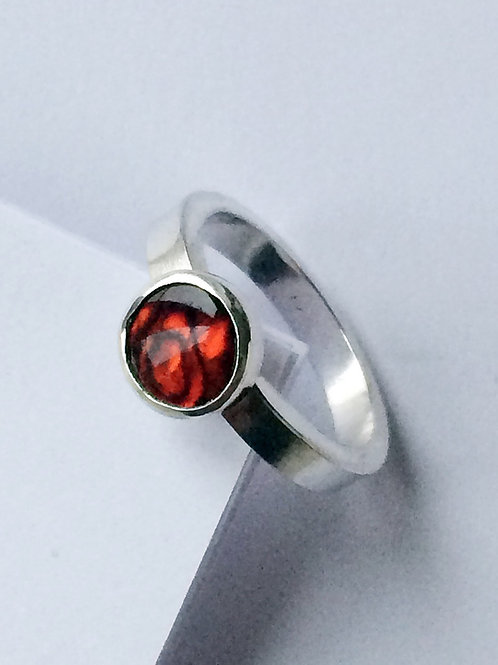 Sterling Silver Round Red Paua Shell Ring