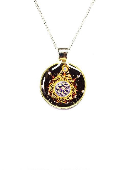 Celestial Spiral Fractal Pendant Fractal Art Necklace