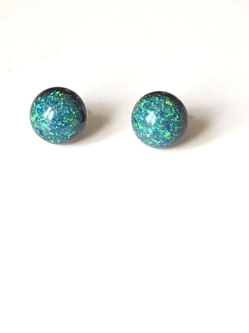Black Peacock Opal Stud Earrings