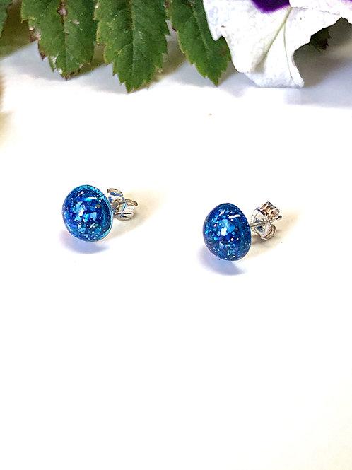 Blue Sparkle Earrings (Sterling Silver Posts & Backs)