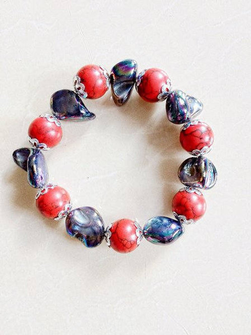 Natural Coral & Mother of Pearl Beaded Bracelet with Matching Drop Earrings
