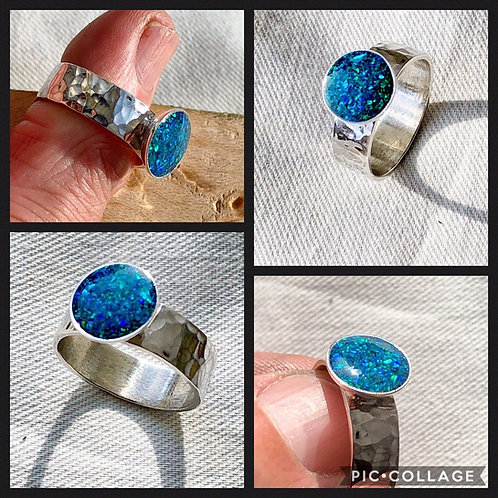 Hammered Sterling Silver Ring Black Opal Green Fire