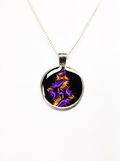 Purple and Yellow Flame Fractal Pendant