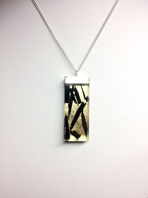 Ebony Shards with Gold Leaf Resin Pendant Silver Cap