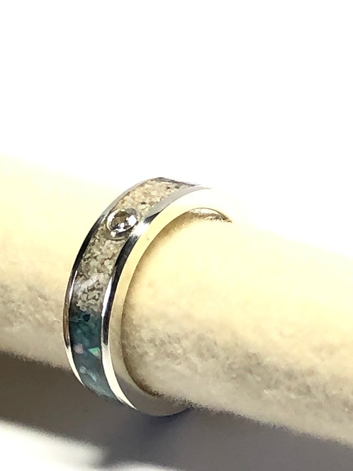Sterling Silver Ashes Memorial Inlay Ring with Set Stone / Birthstone