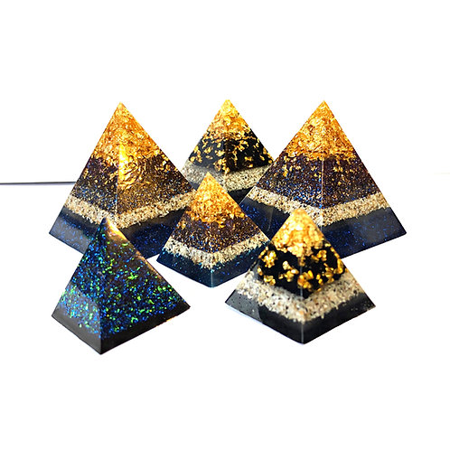 Ashes Memorial Pyramid with Gold / Silver Leaf