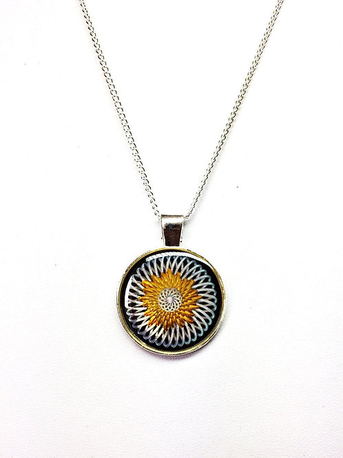 Black & White Fibonacci Fractal Pendant Necklace