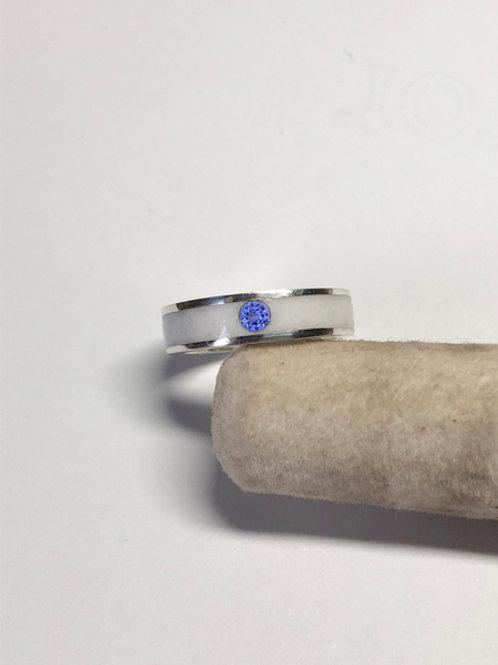 Breast Milk Sterling Silver Birthstone Inlay Ring