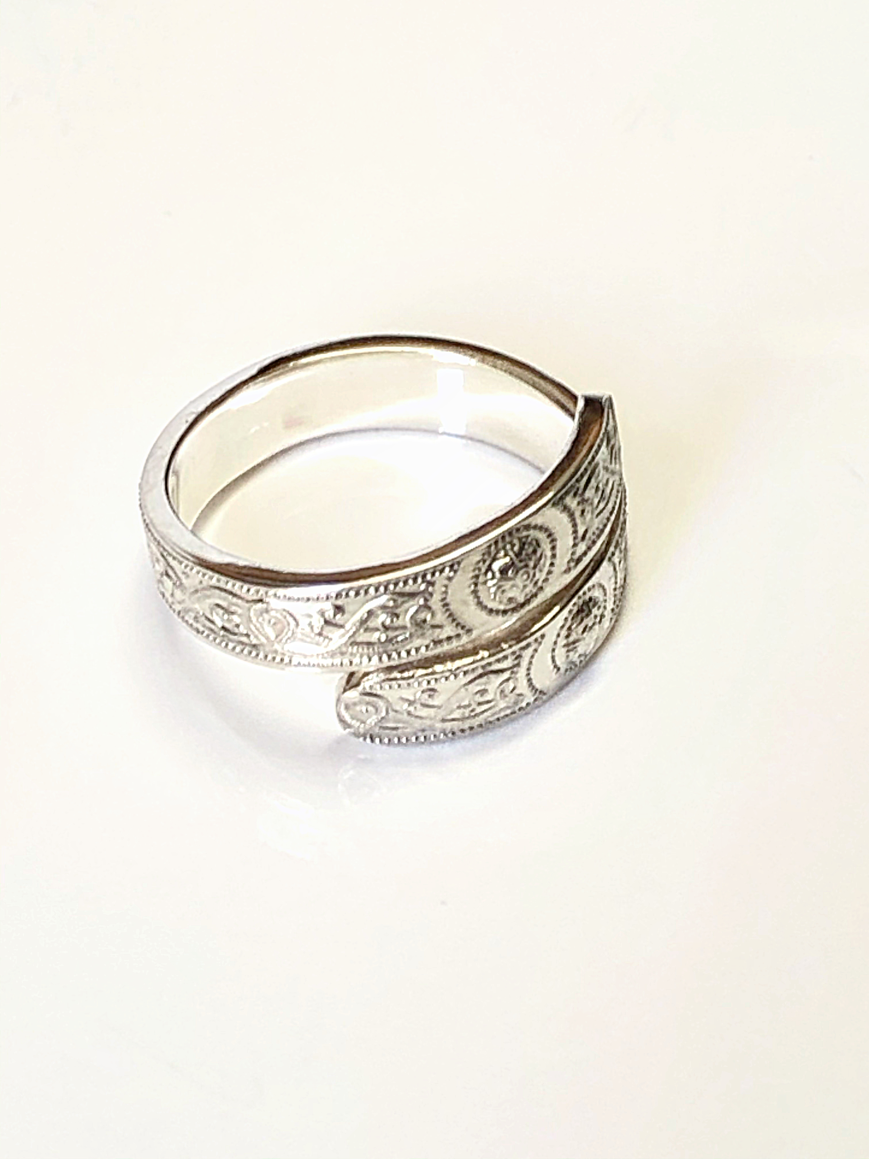 Silver Adjustable Patterned Ring