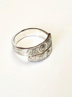Silver Adjustable Patterned Ring