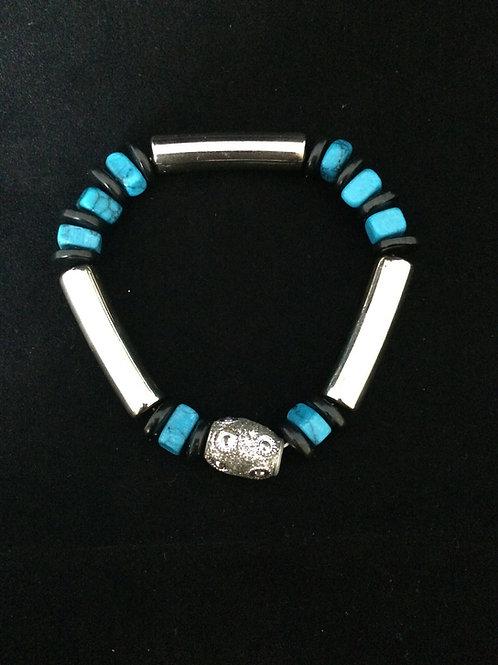Turquoise & Black Silver Tube Stretch Bracelet