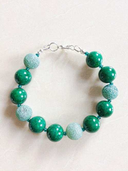 Green Marble & Green Fire Agate Bracelet and Matching Earrings.
