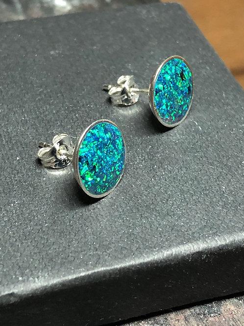 Sterling Silver  Beautiful Handmade Black Opal Stud Earrings with Green Fire