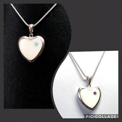 Large Birthstone Heart Breast Milk Pendant