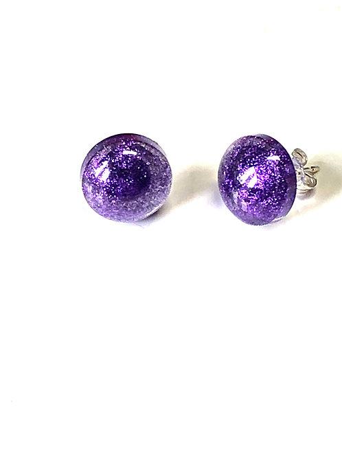 Purple Sparkle Studs (Sterling Silver Posts & Backs)