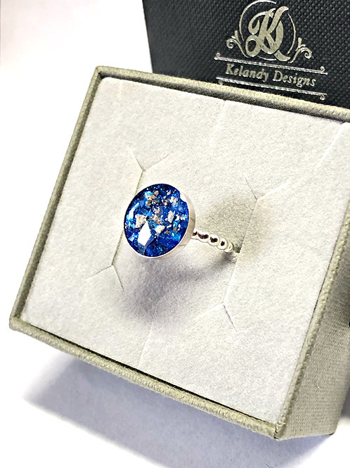 Sterling Silver Single Bezel Ashes Memorial Cremation Ring.