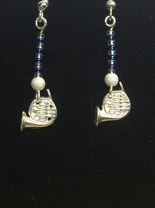 Fine Solid Silver French Horn Drop Chandelier Earrings in Blue and Silver