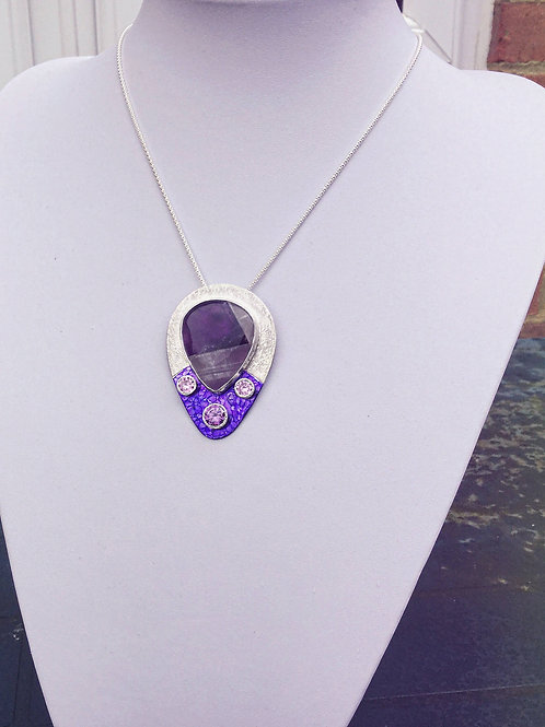 Banded Purple Agate Pear Pendant