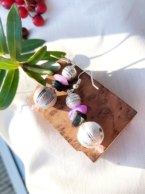 Snowball Silver Metal Watermelon and Amethyst earrings