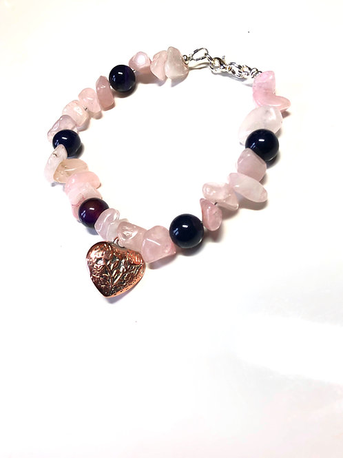 Rose Quartz & Amethyst Bracelet with Bronzed Heart