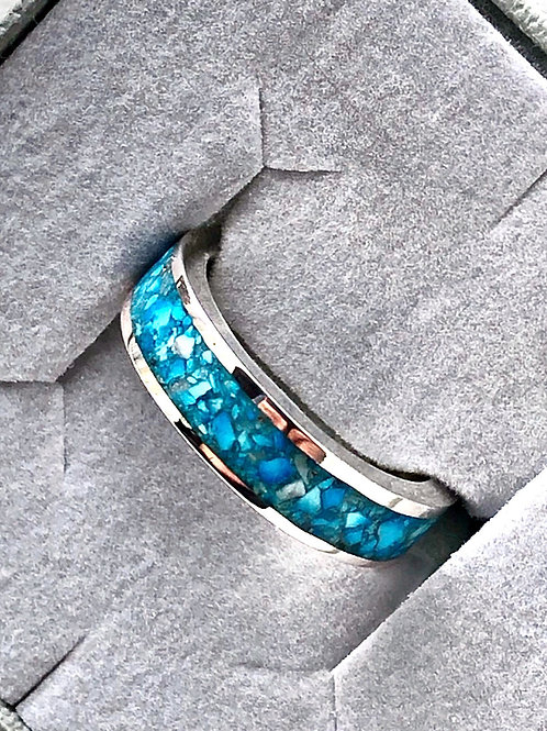 Sterling Silver Genuine Turquoise Inlay Ring