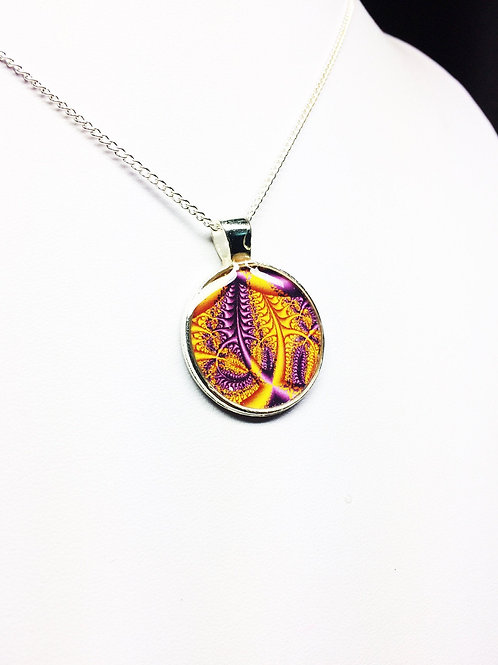 Purple and Yellow Autumn Fractal Pendant