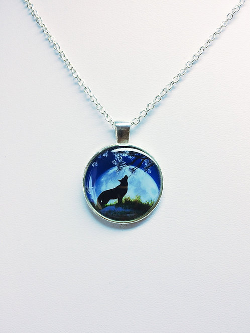 Lone Wolf Howls in Moonlight Pendant