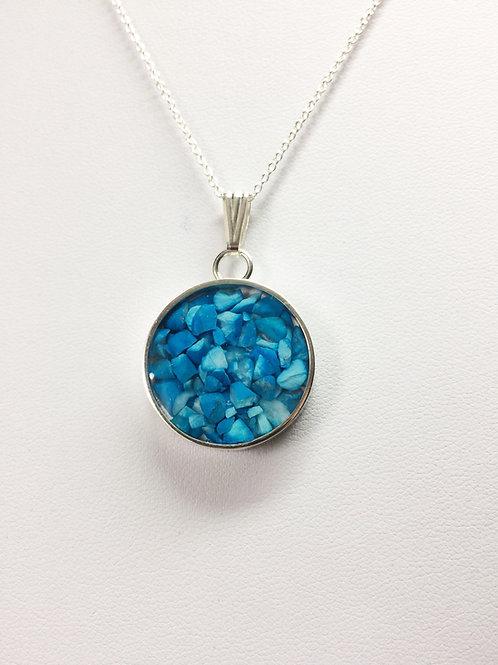 Genuine Turquoise Round Pendant