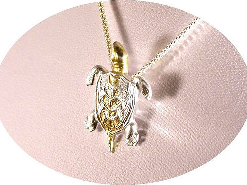 999 Fine SIlver Turtle with 24ct Gold plated head and Central Shell.