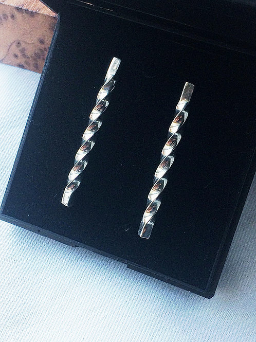 Sterling Silver Twisted Hanging Bar Earrings