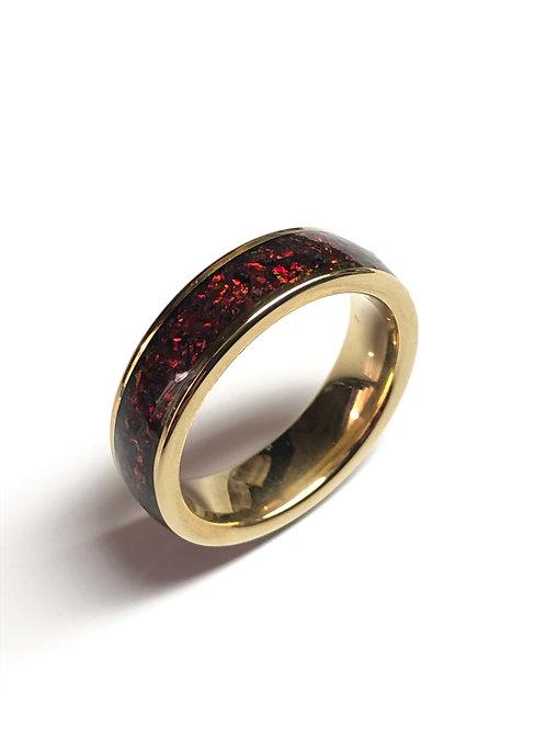 Gold Tungsten Inlay Ring