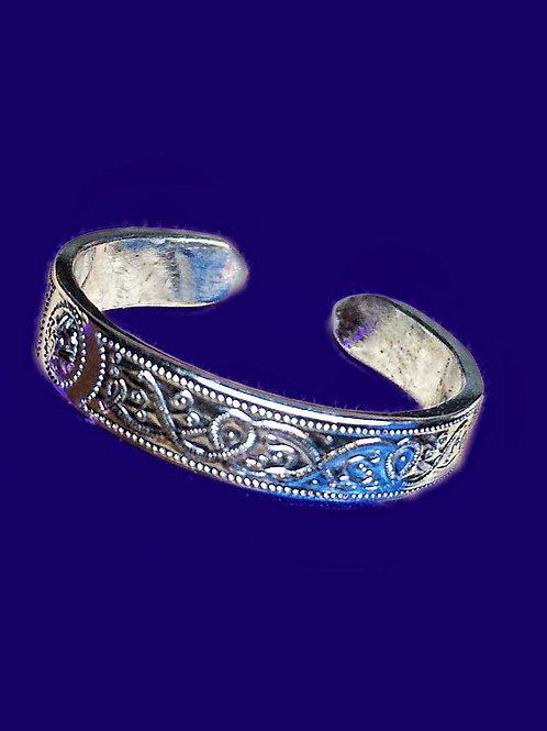Sterling Silver Patterned Band Ring Adjustable Open Back