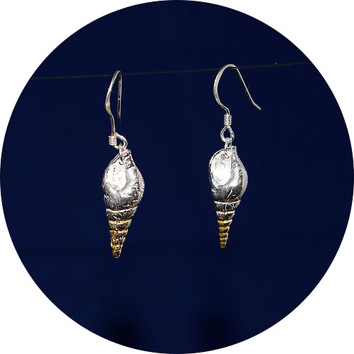 Fine Silver Shell Earrings with 24ct Gold Plating