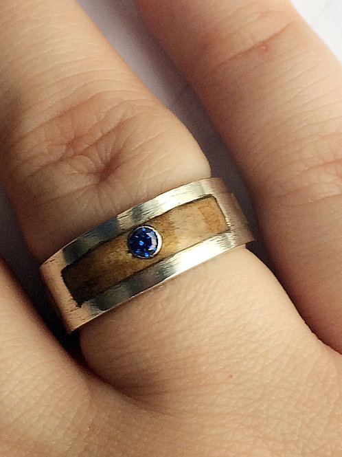 Sterling Silver Satin Double Gallery Ring inlaid