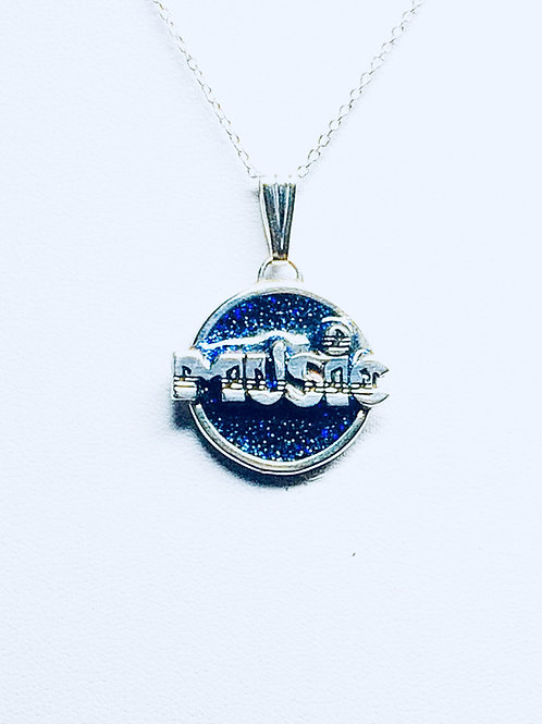 Sterling Silver Handmade Pendant with detailed 'MUSIC' logo