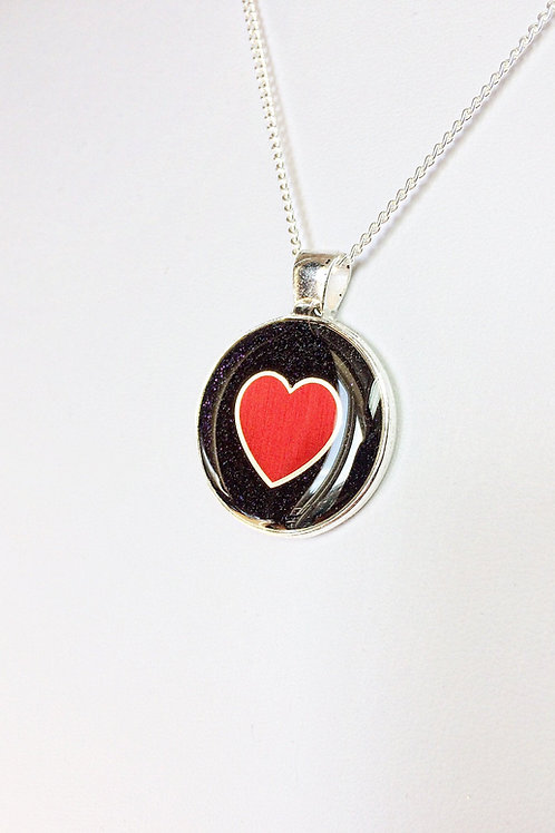 Round Black Glitter Pendant with Red and Gold Heart Charm in Resin