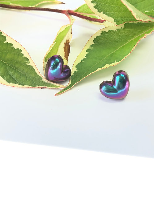 Unicorn Shimmer Heart and Round Stud Earrings