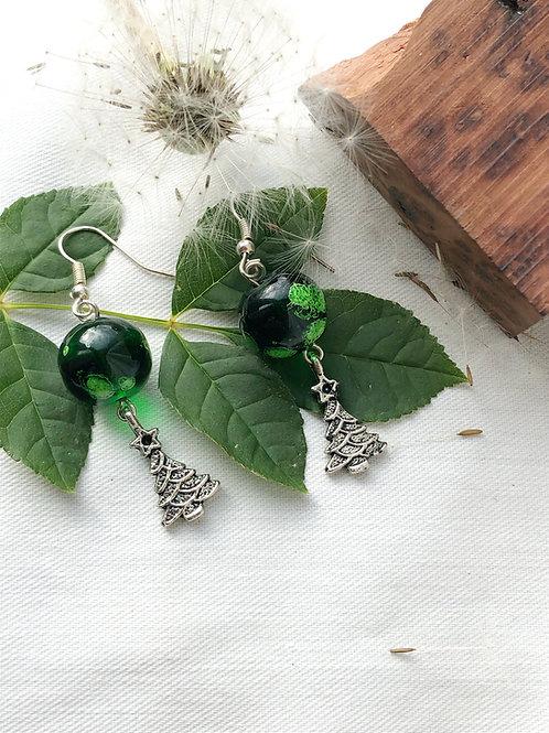 Galactic Green Christmas Tree Earrings