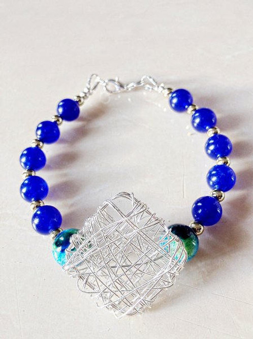 Blue & Turquoise Silver Mesh Statement Bracelet
