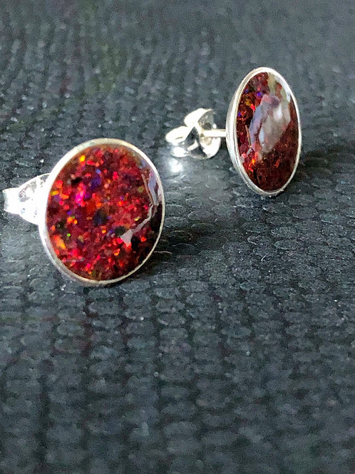 Sterling Silver Deep Red Opal Stud Earrings with Yellow Fire